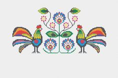 Items similar to Modern Cross Stitch Kit - Polska - Polish Folk Art on Etsy Polish Embroidery, Wool Embroidery, Modern Cross Stitch, Cross Stitch Patterns, Polish Folk Art, Ribbon Art, Retro Illustration, Needlework, Tapestry