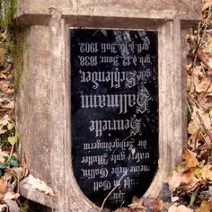 Upside down headstone in the abandoned cemetery in the village formerly known as Hansfelde in Poznan