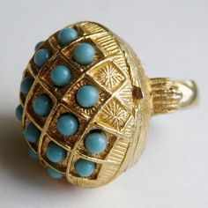 Vintage 50s 60s Helena Rubinstein Gold Turquoise Solid Perfume Secret Compartment Domed Ring