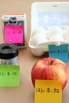 Real-World Algebra Activity. Use A variety on Items around the classroom. Set a variable and a price to represent each item. (You can even allow the students to determine the prices). Have the students shop for items or create a shopping list for them.  Students will need to write expressions that match their list, Then solve each expression to determine the final cost. Students practice writing algebraic expressions and multiplying and adding decimals. (Examples are provided on webpage)