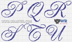 Imagem de http://1.bp.blogspot.com/-wrKMvwmvktE/VKxESTxSIHI/AAAAAAAAb34/uH4B_2sgtP4/s1600/alfabeto%2Brequintado%2Belegante%2Bletra%2Bcursiva%2Bponto%2Bcruz%2Blinda%2Bwagner%2Breis%2Bwr%2Bartes%2B(3).png.
