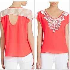 ✳️HOST PICK✳️NWT HYPER PINK & WHITE LACE TOP NWT HYPER PINK, TOP.  WITH WHITE APPLIQUÉS ON FRONT ACCENTUATING SCOOP NECKLINE. CAP SLEEVES, & LACE INSET ACROSS SHOULDERS THAT EXTENDS TO CUTOUT BACK. SEE 3rd or 4th PIC FOR ACCURATE COLOR.                                              100% POLYESTER takara Tops