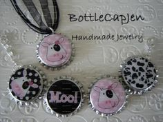 COW BOTTLE CAP NECKLACE  AND BRACELET SET JEWELRY PINK AND BLACK POLKA DOT MOO by bottlecapjen for $9.95