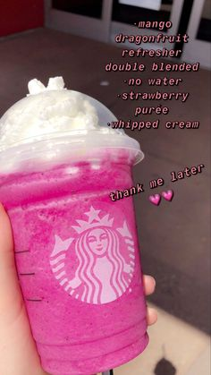 Bebidas Do Starbucks, Healthy Starbucks Drinks, Starbucks Secret Menu Drinks, Starbucks Frappuccino, Starbucks Frozen Drinks, Yummy Drinks, Smoothies, How To Order Starbucks, Starbucks Refreshers