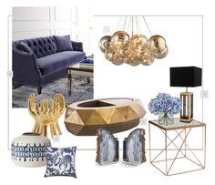 """GoldenBlue"" by kowanse on Polyvore featuring interior, interiors, interior design, дом, home decor, interior decorating, Shine by S.H.O, Eichholtz, Ethan Allen и Arteriors"