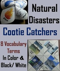 These natural disasters cootie catchers are a great way for students to have fun while learning about each type of natural disaster. These cootie catchers contain the following natural disasters: Flood, Volcano, Tsunami, Hurricane, Dust storm, Tornado, Earthquake, Blizzard