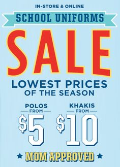 b1ee4f8b7 Old Navy School Uniform Sale + Extra Off  Online Only