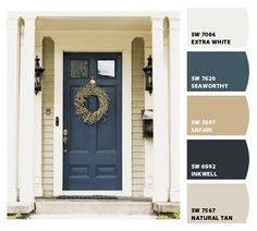 ideas front door colors with tan house black shutters entryway for 2019 Front Door Paint Colors, Exterior Paint Colors For House, Painted Front Doors, Paint Colors For Home, House Shutter Colors, Beige House Exterior, House Shutters, Black Shutters, Tan House