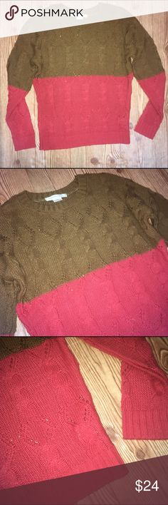 UO Coincidence & Chance Colorblock Cable Sweater Urban Outfitters Coincidence & Chance colorblock cable sweater. Size small. Brown top and red bottom. Very stretchy. 100% acrylic. Measurements in pictures. No trades, offers welcome! Urban Outfitters Sweaters Crew & Scoop Necks