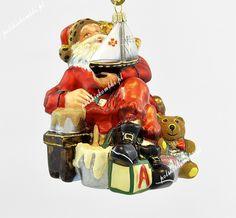 Mikołaj z żaglówką - Polskie bombki ręcznie malowane - sklep z ozdobami choinkowymi Komozja Family