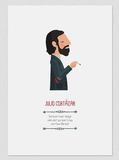 Ilustración. Julio Cortázar. Póster por Tutticonfetti en Etsy