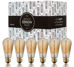 Edison bulbs  Scandic Gear  6 pack of 60 watt Filament Vintage Antique Style Incandescent Light bulb with Squirrel Cage Design  E26 E27 ST64 Dimmable for Chandeliers Pendant Lighting Wall Sconces