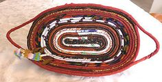 Handmade Cotton Fabric Coiled Basket Multi Color Bread Oval Serving Gift Plate