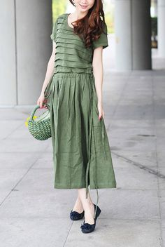 Olive Green Linen Dress/ Tiered Bridesmaid Dress by camelliatune