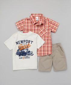Another great find on #zulily! Red Plaid Button-Up Set - Boys #zulilyfinds