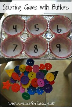 Counting Game with Buttons - an easy way to help preschoolers with their counting skills.