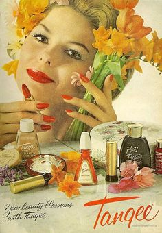A great vintage Tangee Cosmetics ad... when the color orange was the center of the lipstick Universe...