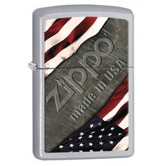 Zippo Lighter: American Flag and Metal - Satin Chrome