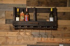 Rustic Wood Wine Rack, Reclaimed Pallet Wood Wine Rack with Glass Rack