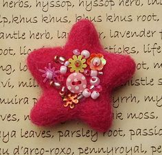 Pink Felted Wish Upon A Star Brooch by Honeypuddle on Etsy, $12.00