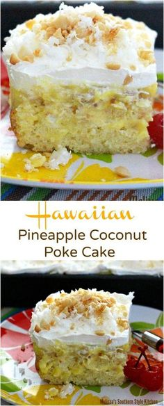 Hawaiian Pineapple Coconut Poke Cake – The poke cake phenomenon reached a fever pitch at one point. It seemed that poke cakes in every sing. 13 Desserts, Delicious Desserts, Baking Desserts, Plated Desserts, Food Cakes, Cupcake Cakes, Cake Cookies, Cookies Vegan, Rose Cupcake