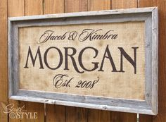 Personalized Burlap Family Name Sign