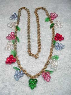 Vintage 1930'S Czech Glass Grapes Leaves Necklace