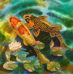 Art Print Fish Pond Series Of Original SILK by SilkByLena on Etsy.   Yelena Sidorova