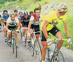 Here Fignon in yellow looks back at Hinault as '83 as he piles on the pressure.