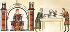 From the Hortus Deliciarum, compiled in Alsace between 1167 & 1185. Great image of puppets and a splendid table.