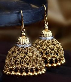 Traditional Indian Filigre Jhumki - The traditional Indian jhumki is handcrafted in a delicate composition of filigree work in 18k gold and supported with a ring of diamonds.
