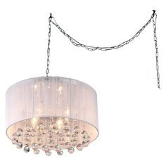Give your room's decor a dramatic focal point with the Mineya White Chrome Swag Lamp. The light fixture features a host of large crystals under the drum shade that catch the light and make the room sparkle. Swag Pendant Light, Swag Light, Pendant Lighting, Crystal Pendant, Drum Chandelier, Chandelier Shades, Chandeliers, Candelabra Bulbs, Light Bulb Types
