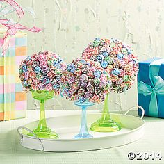 Dum Dum Topiaries Floral foam Ball with dum dum pops atop a cupcake holder Candy Buffet Tables, Candy Table, Grad Parties, Birthday Parties, Birthday Ideas, Birthday Diy, Father Daughter Dance, Floral Foam, Oriental Trading