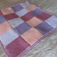 Patchwork Style Hand Knitted Blanket