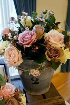 Vintage bucket of flowers