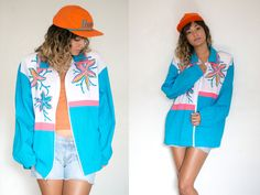 80S COLOR BLOCK JACKET / RETRO MULTICOLOR JACKET / BLUE WHITE PINK JACKET / ZIP UP ABSTRACT UNISEX NEON STARFISH 90S GRUNGE BRIGHT COLLAR #style #fashion #trend #onlineshop #shoptagr