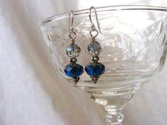 Teal Czech Glass Dangle Earrings blue earrings by KaitlinAmanda, $17.00