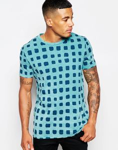 Image 1 ofASOS Longline T-Shirt With All Over Block Print In Relaxed Fit