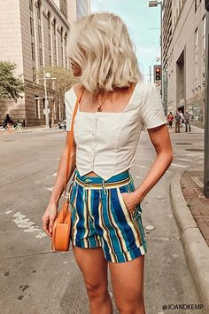 Product Name:Striped Stretch-Denim Shorts, Category:bottom_shorts, Summer Outfits, Casual Outfits, Cute Outfits, Work Outfits, Business Dress, Look Fashion, Fashion Outfits, Fashion Tips, Outfit Online