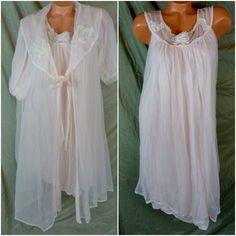 Vtg Lisette Babydoll Pink Full Sheer Chiffon Peignoir Robe Nightgown Gown Set L #LisetteforAlSterling