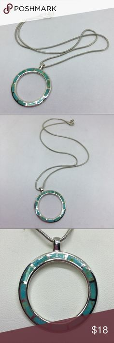 "🆕Vintage 925 Turquoise Circle Pendant Necklace A 1 1/8"" in diameter thin circle pendant with Turquoise inlays, marked on the reverse as shown. Strung on a 16"" Sterling chain; unmarked but tests as 925. If you grew up in the 70s, chances are you had a necklace similar to this one! This is from an Estate collection and was a well-loved piece but is still in excellent condition besides some scratches on the back of the pendant. A lovely piece of 70s jewelry! Vintage Jewelry Necklaces"