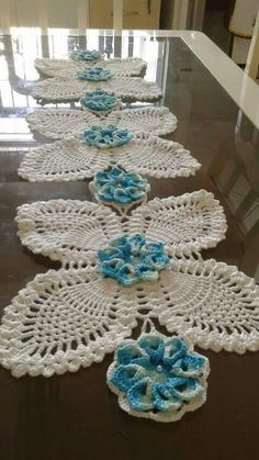 "diy_crafts- ""Crochet lace tape,, tape lace as table runner"", ""No pattern just for inspiration…. Crochet Doily Patterns, Crochet Squares, Thread Crochet, Filet Crochet, Crochet Motif, Crochet Doilies, Crochet Yarn, Easy Crochet, Crochet Flowers"