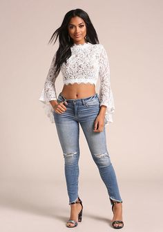 White Lace Embroidered Bell Sleeve Crop Top - Best Sellers - Most Loved Outfits Otoño, Junior Outfits, Casual Outfits, Ripped Skinny Jeans, Mid Rise Skinny Jeans, Bell Sleeve Crop Top, Bell Sleeves, Fall Fashion Trends, Autumn Fashion