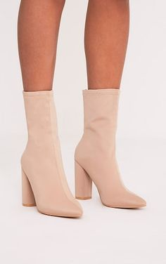 89eee8ba7797dc Addie Nude Neoprene Pointed Sock Boots Spring Outfits