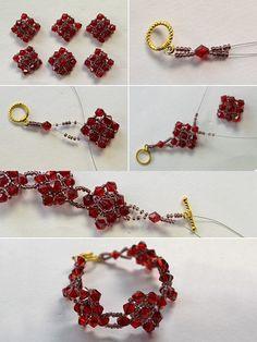 Red beaded crystal bracelet, wanna it? LC.Pandahall.com will publish the tutorial soon.   #pandahall