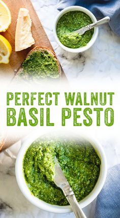 Pesto with Basil This homemade walnut pesto comes together in less than 10 minutes and can be frozen for up to six months. Perfect for sandwiches, soups, and more! Basil Pesto Recipes, Veggie Recipes, New Recipes, Vegetarian Recipes, Cooking Recipes, Favorite Recipes, Healthy Recipes, Pesto With Walnuts Recipes, Healthy Food