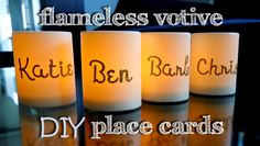 DIY Flameless Votive Place Cards! So thoughtful for your guests and very easy to make