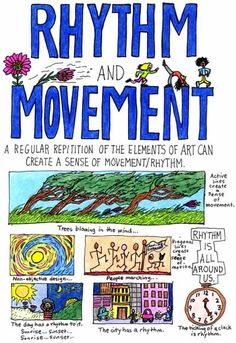 The principles of design describe the ways that artists use the elements of art in a work of art. Below you will find a few examples of principles of design, which are illustrated in works of art. Elements And Principles, Elements Of Art, Principles Of Design Movement, Art Doodle, Classe D'art, 7 Arts, Art Handouts, Art Basics, Art Worksheets