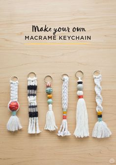 Send your kids back to school with their own macrame keychain! This DIY tutorial on Think.Make.Share shows you to basics of how to make macrame knots that you easily turn into a keychain. Click through to this easy how-to guide, and see more fun DIY macrame projects. #jewelrymakingforchildren