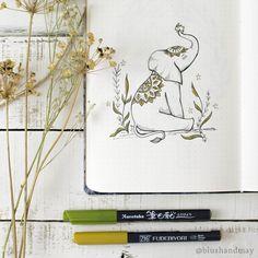 July Bujo Setup -Magical Elephant and bunny! #illustration #bulletjournal #bujo #journalideas